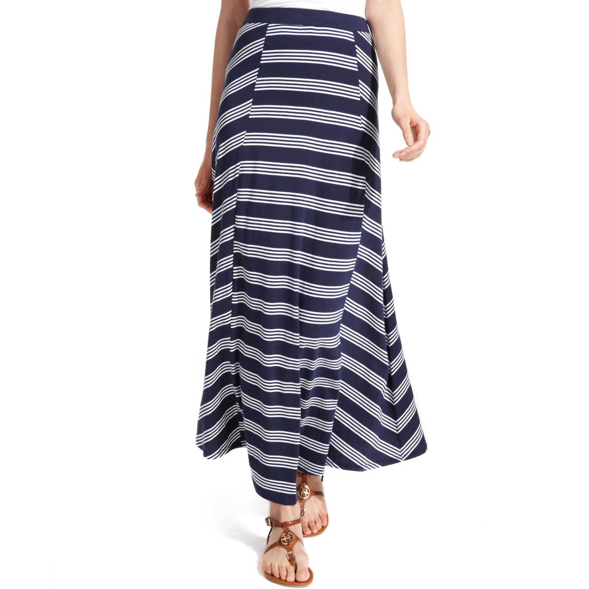 hilfiger striped maxi skirt in blue peacoat classic