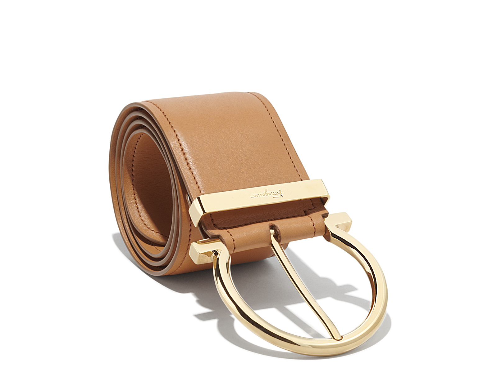 ferragamo oversized single gancio belt in brown lyst