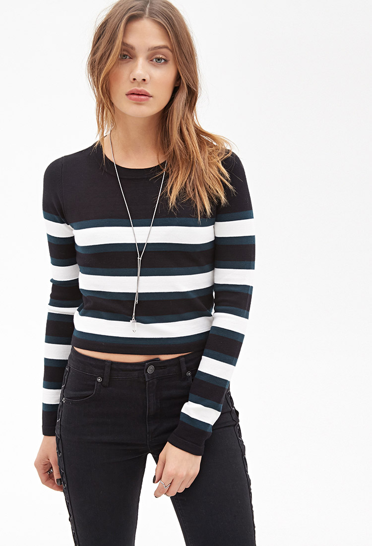 Lyst - Forever 21 Striped Crop Sweater in Black