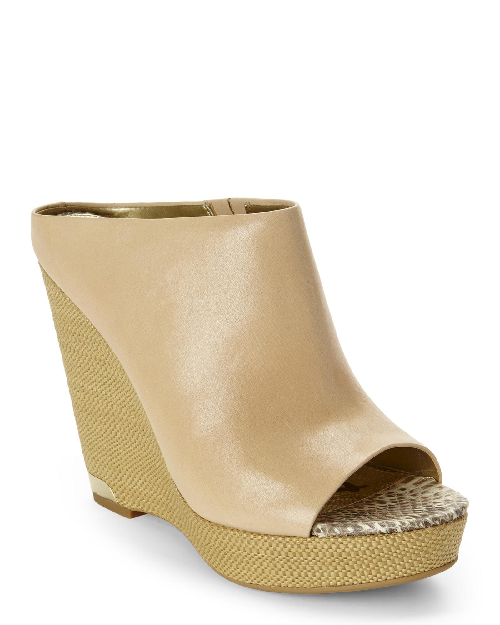 37623465cb105 Lyst - Sam Edelman Natural Naked Kylie Platform Wedge Mules in Natural