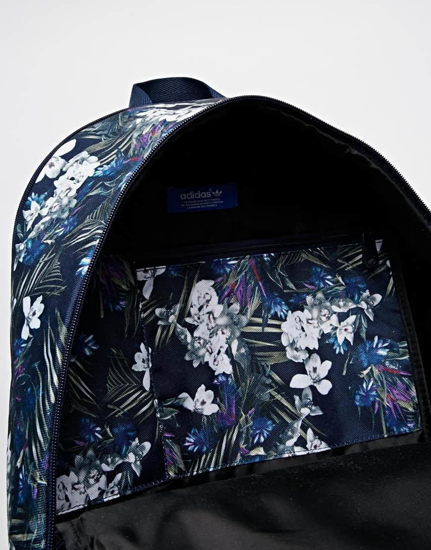 Lyst - adidas Originals Backpack In Floral Print in Blue f877354584776