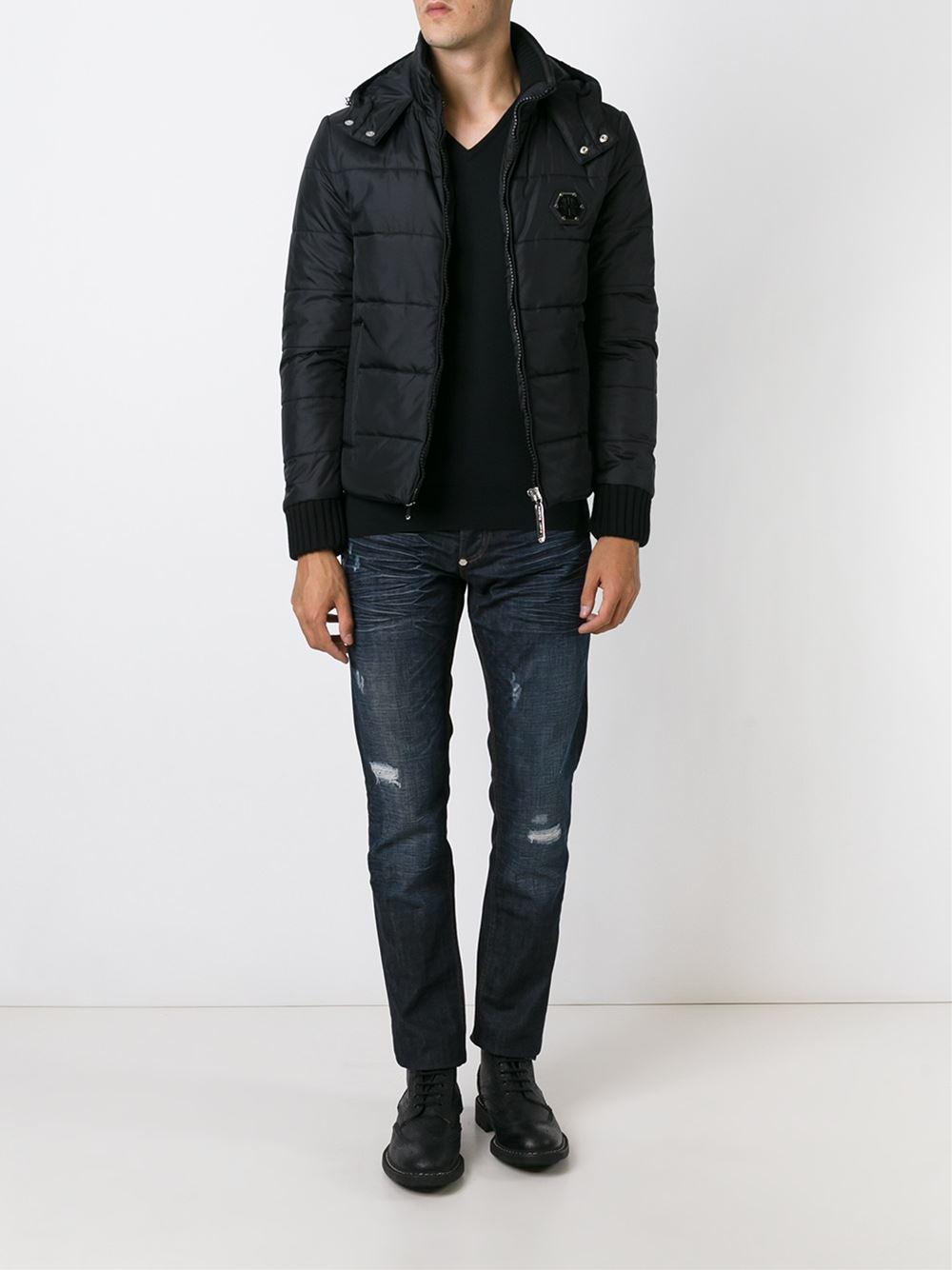 philipp plein 39 ingenius 39 padded jacket in black for men lyst. Black Bedroom Furniture Sets. Home Design Ideas