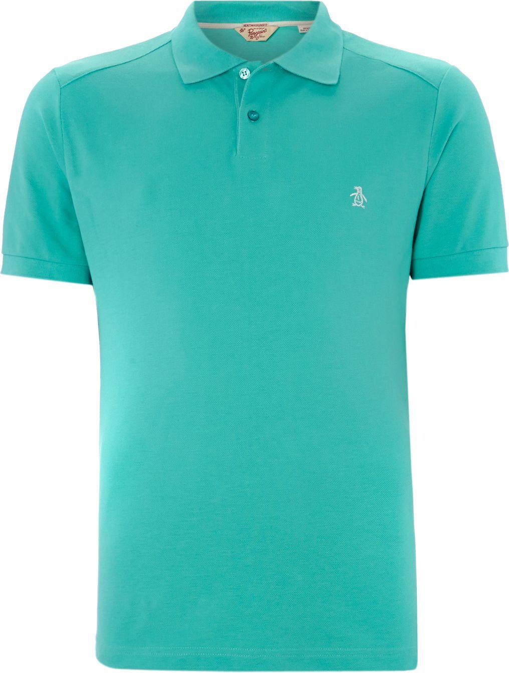 Lyst original penguin slim fit daddy polo shirt in blue for Aqua blue mens dress shirt