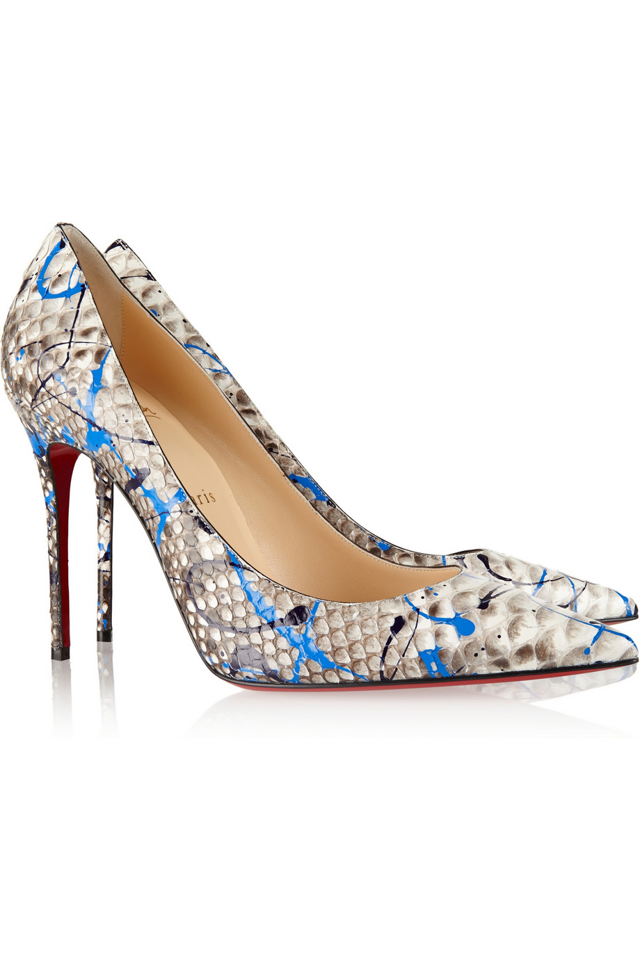 lyst christian louboutin d collet 100 painted python pumps in blue rh lyst com