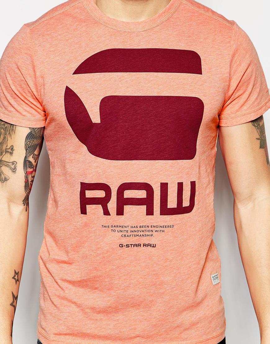 988e5244ea4 G-Star RAW T-shirt Resap Crewneck G Raw Logo Print In Red Heather in ...