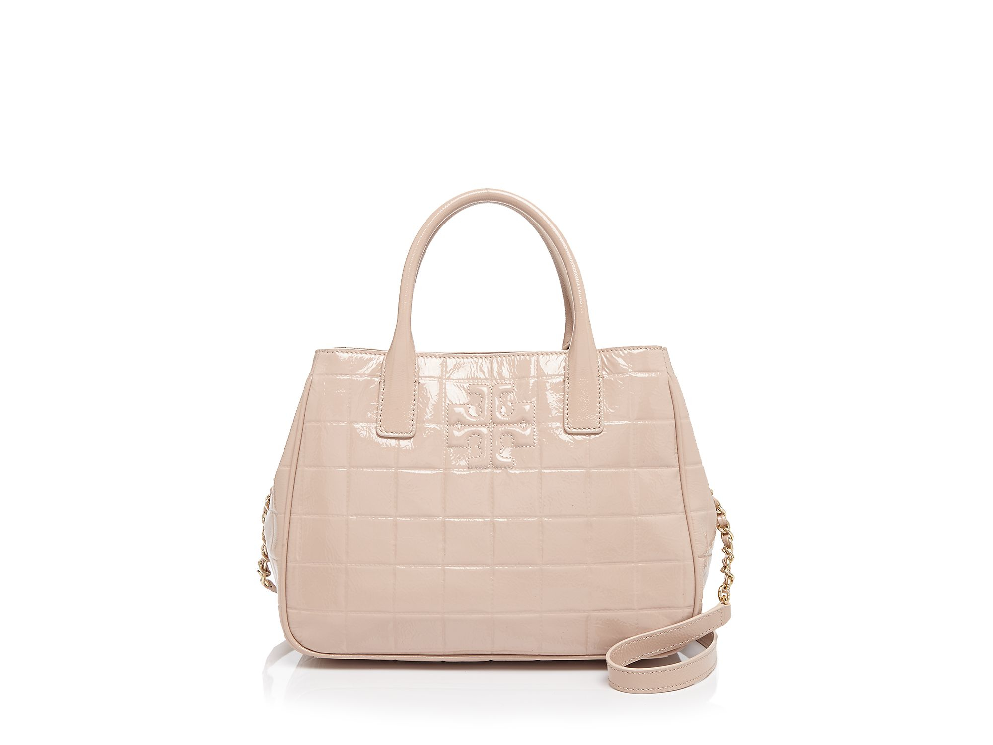 Tory Burch Marion Quilted Patent Tote In Natural Lyst