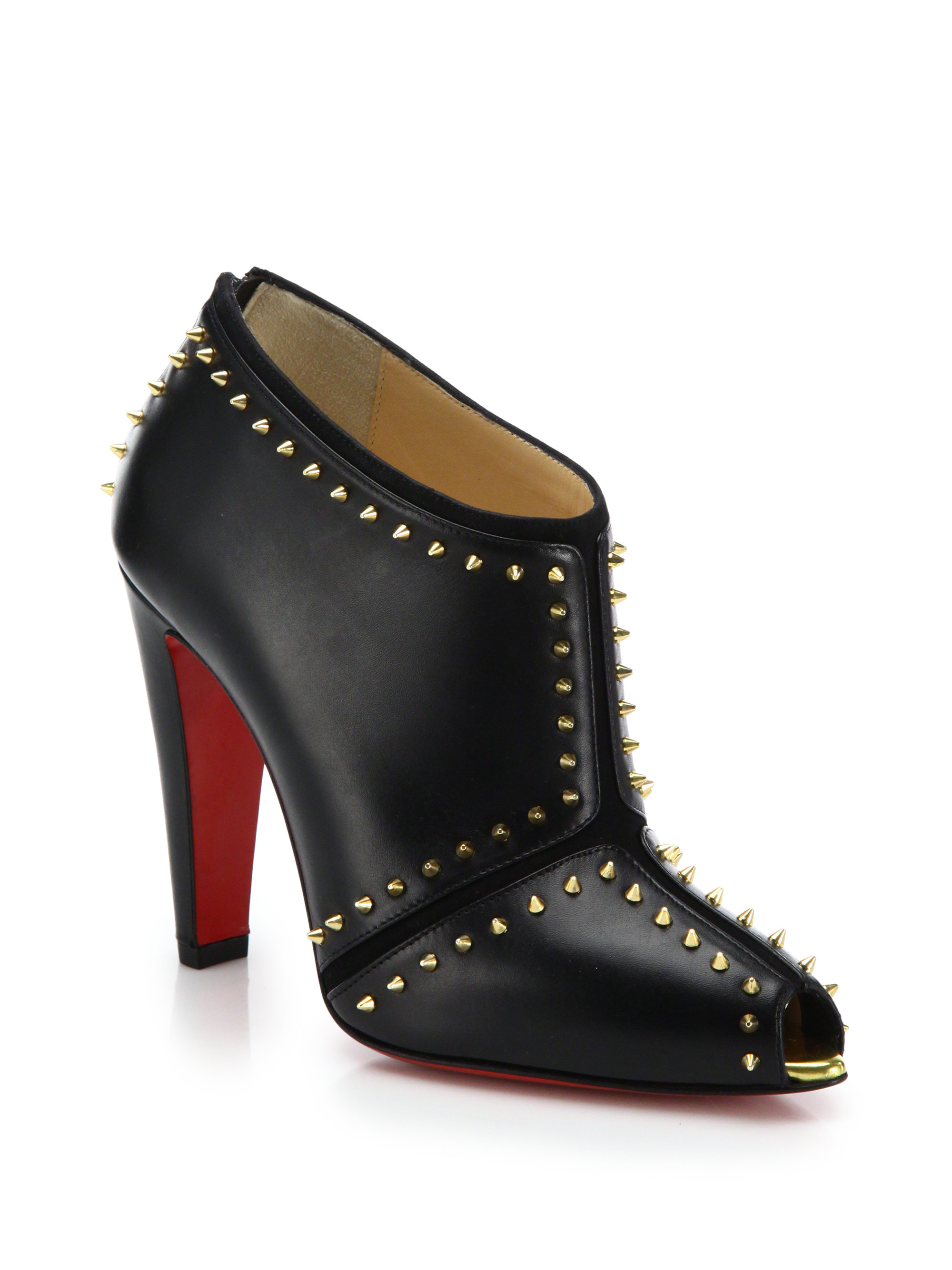 1ffc8543ba8d Lyst - Christian Louboutin Studded Leather Peep-toe Booties in Black