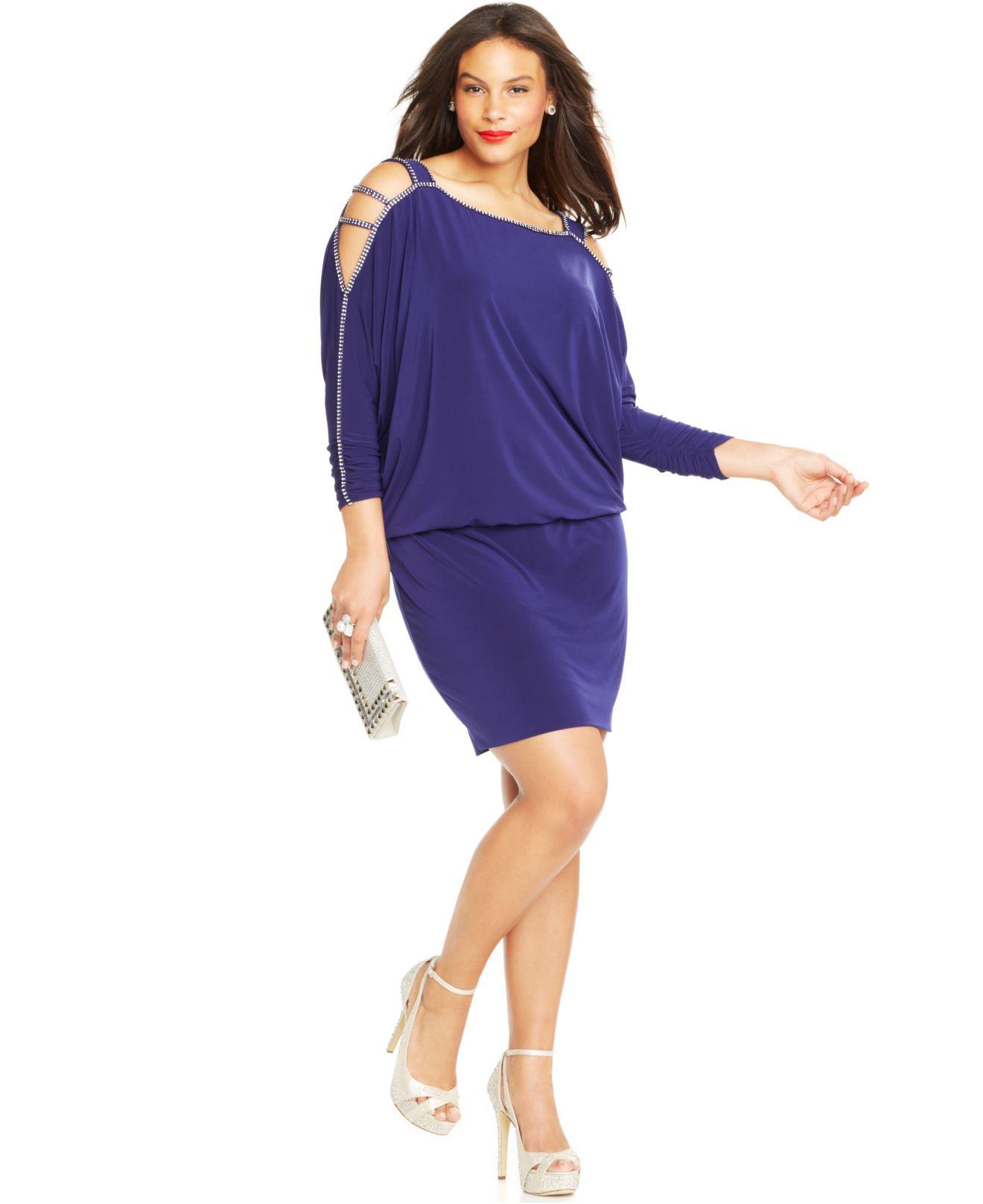 Betsy & Adam Blue Plus Size Cold-shoulder Embellished Blouson Dress