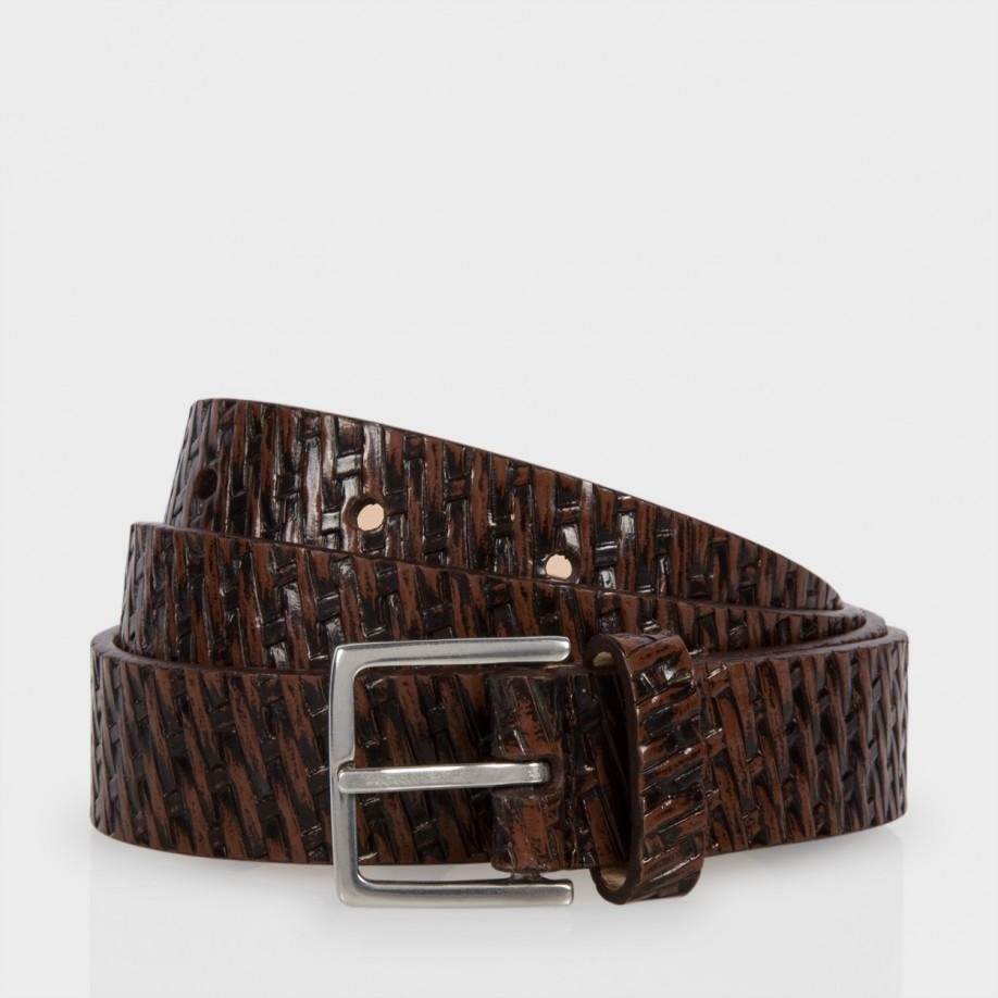 paul smith brown basket weave effect suit belt in brown