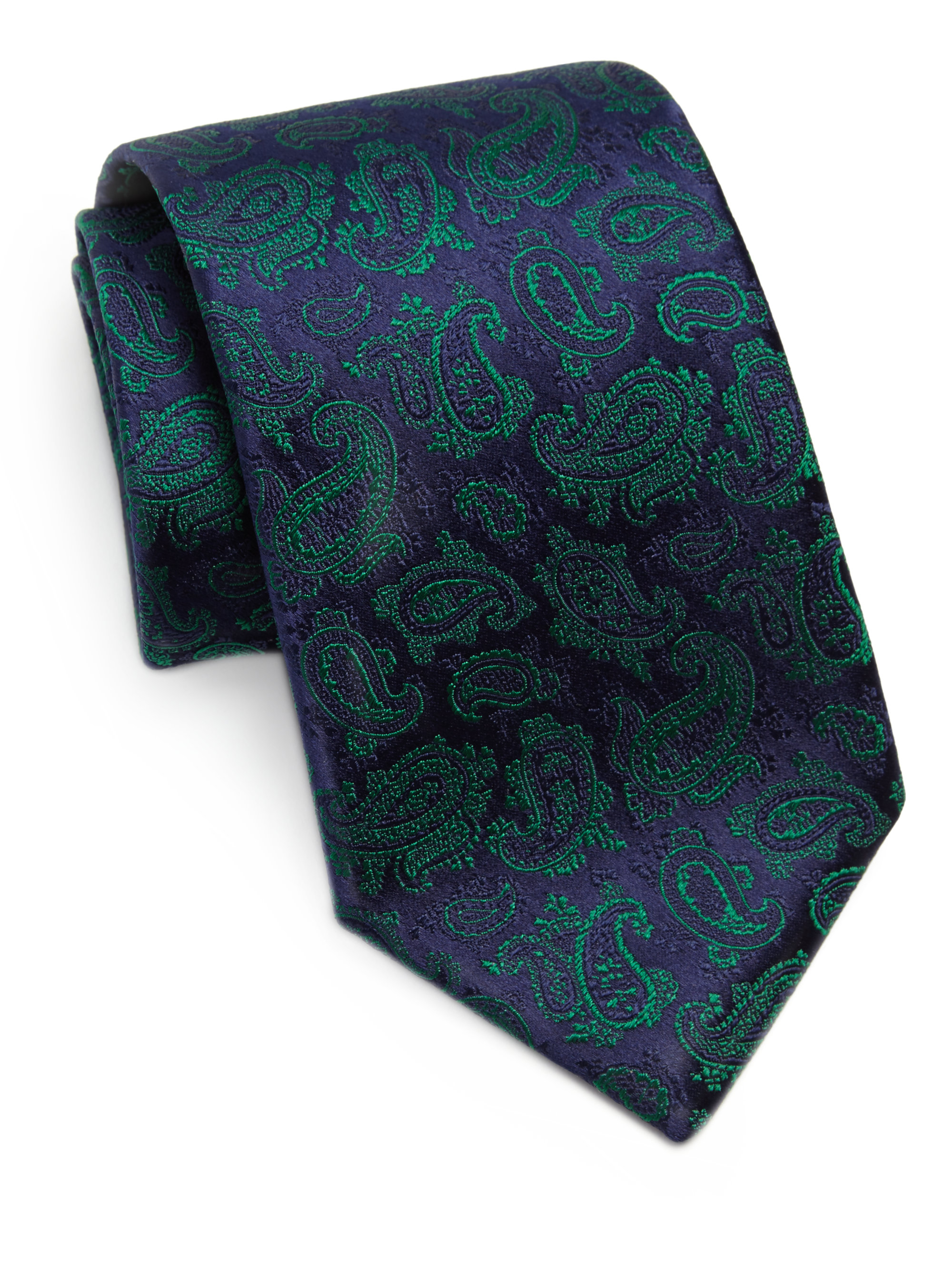 charvet paisley silk jacquard tie in blue for lyst