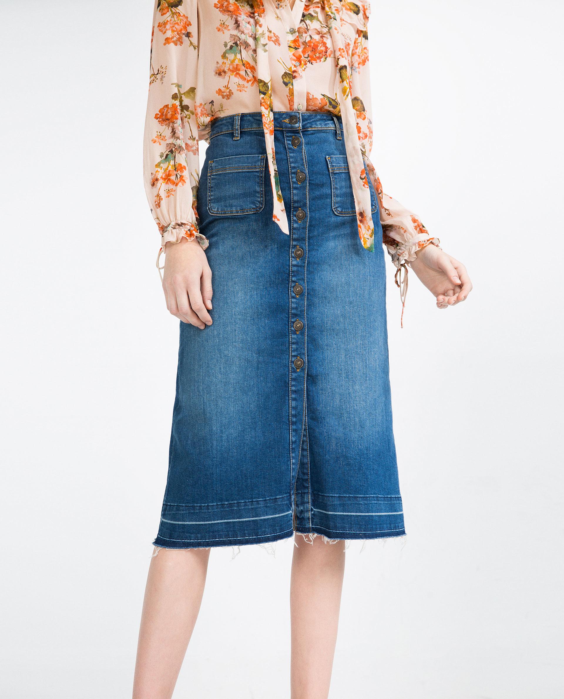 Zara Buttoned Mid-length Denim Skirt in Blue   Lyst
