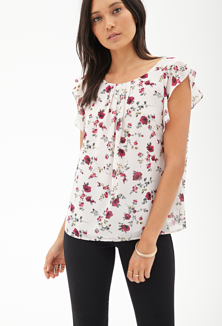Forever 21 Ruffled Floral Chiffon Blouse Lyst