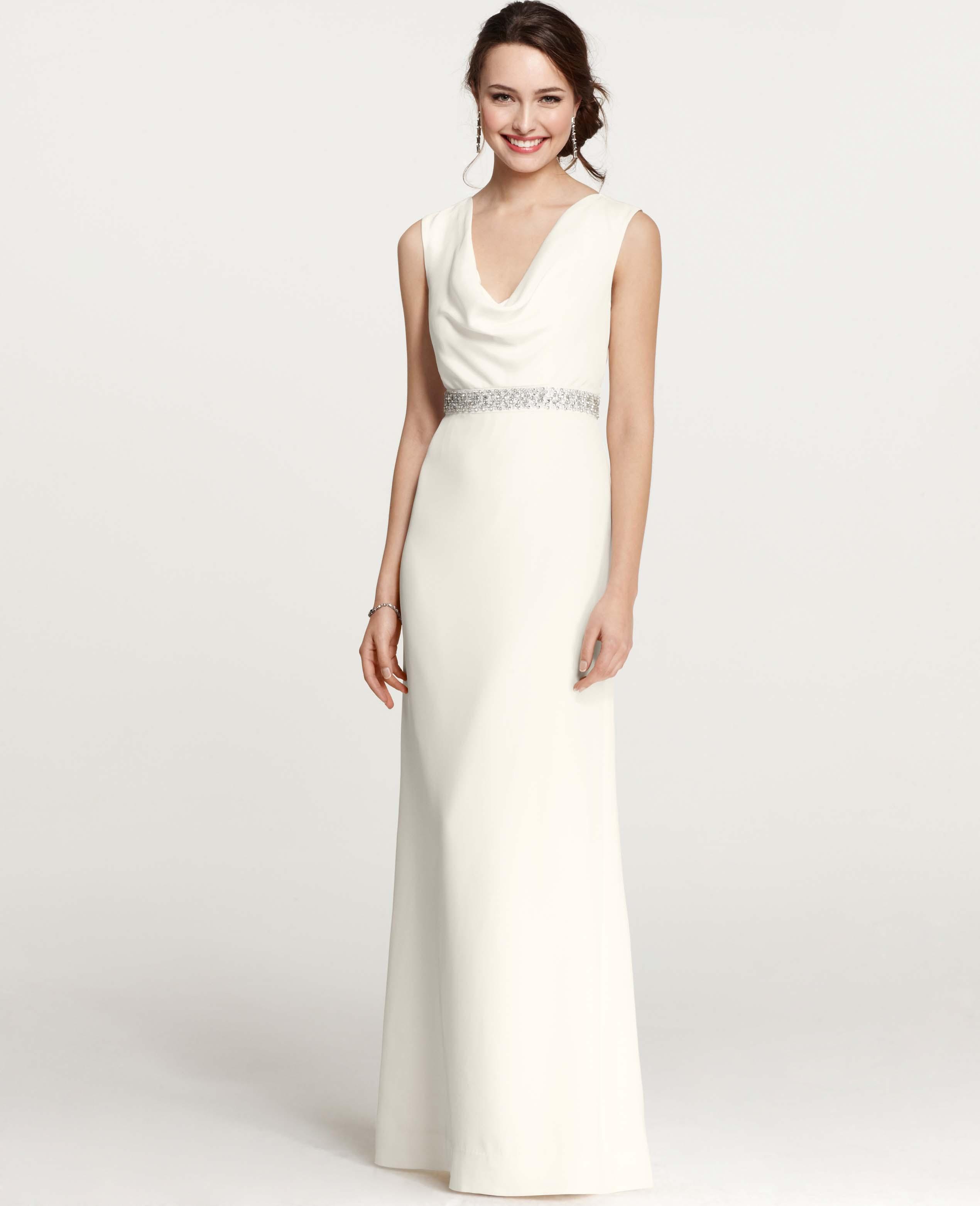 Lyst - Ann Taylor Petite Mya Cowl Neck Wedding Dress in White