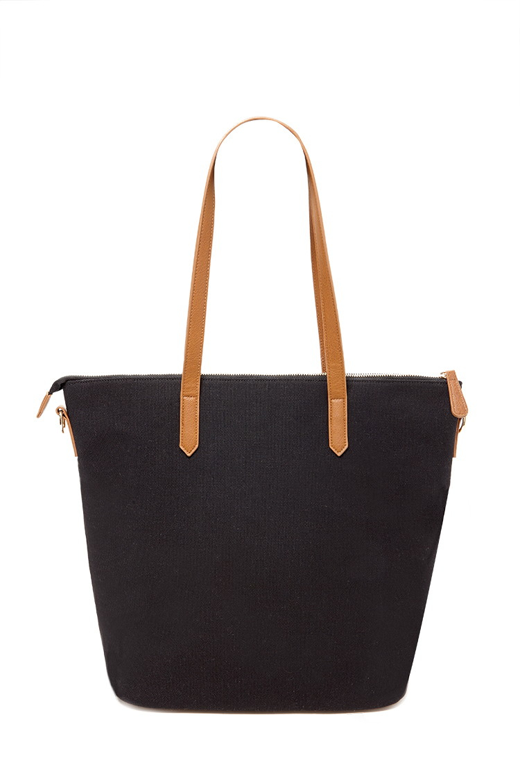 Forever 21 Zip-top Canvas Tote in Black | Lyst