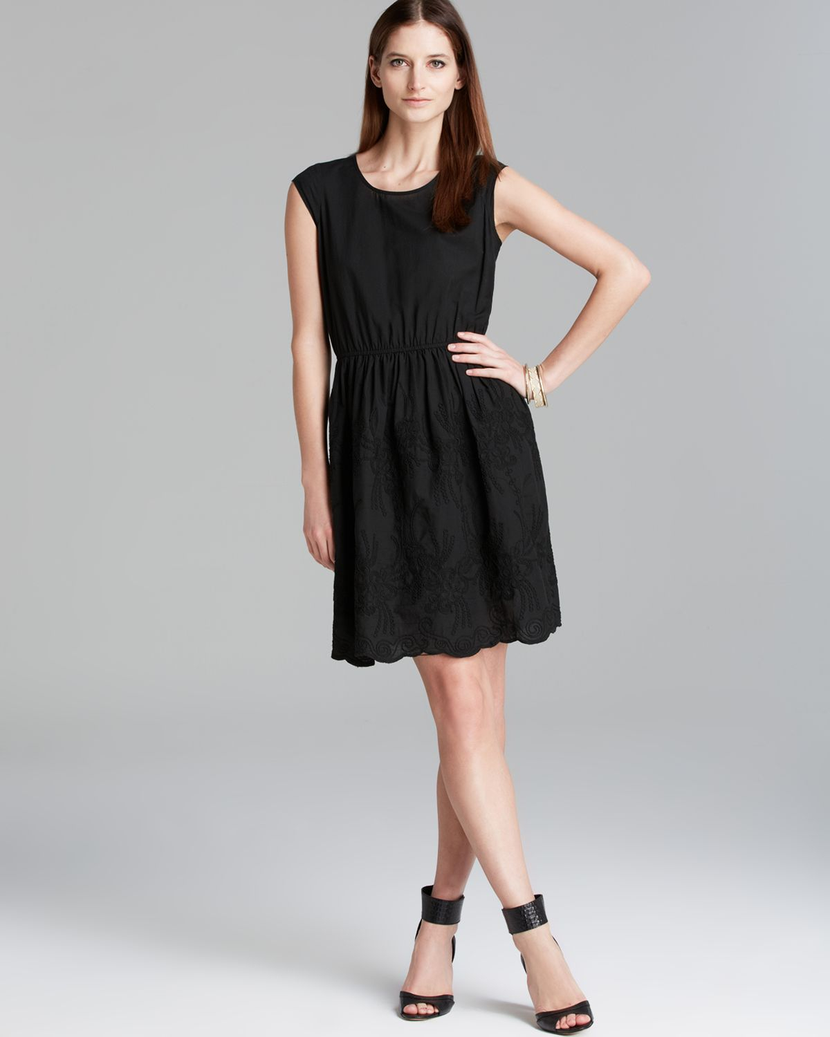 2dfa2a4bdd Lyst - Two By Vince Camuto Cap Sleeve Embroidered Dress in Black