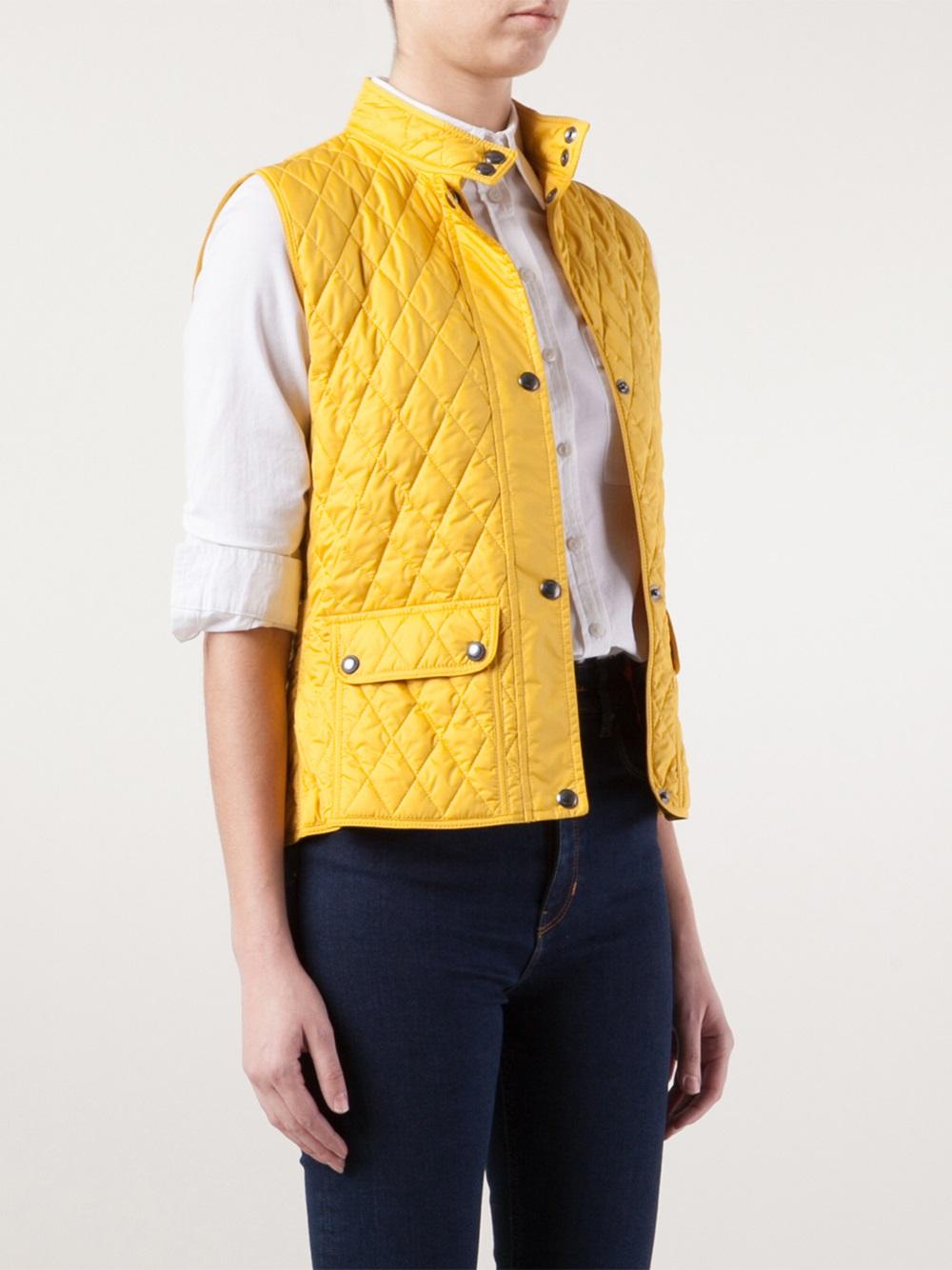 Lyst Belstaff Quilted Weskit Vest In Yellow