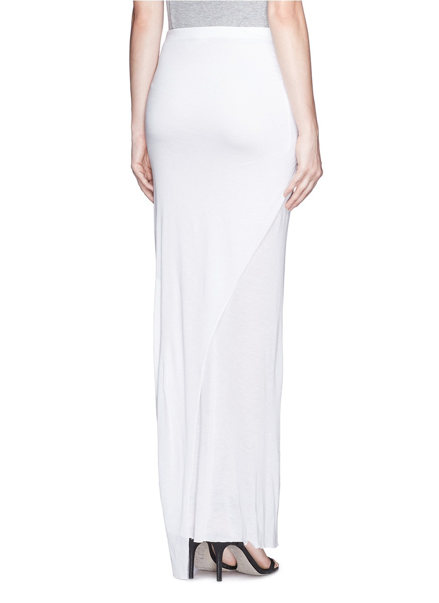 Helmut lang Twist Front Jersey Maxi Skirt in White | Lyst