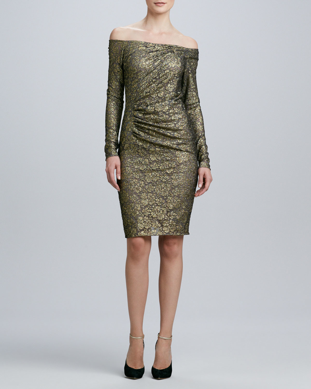 Carmen Marc Valvo Off-The-Shoulder Long-Sleeve Cocktail Dress in ...