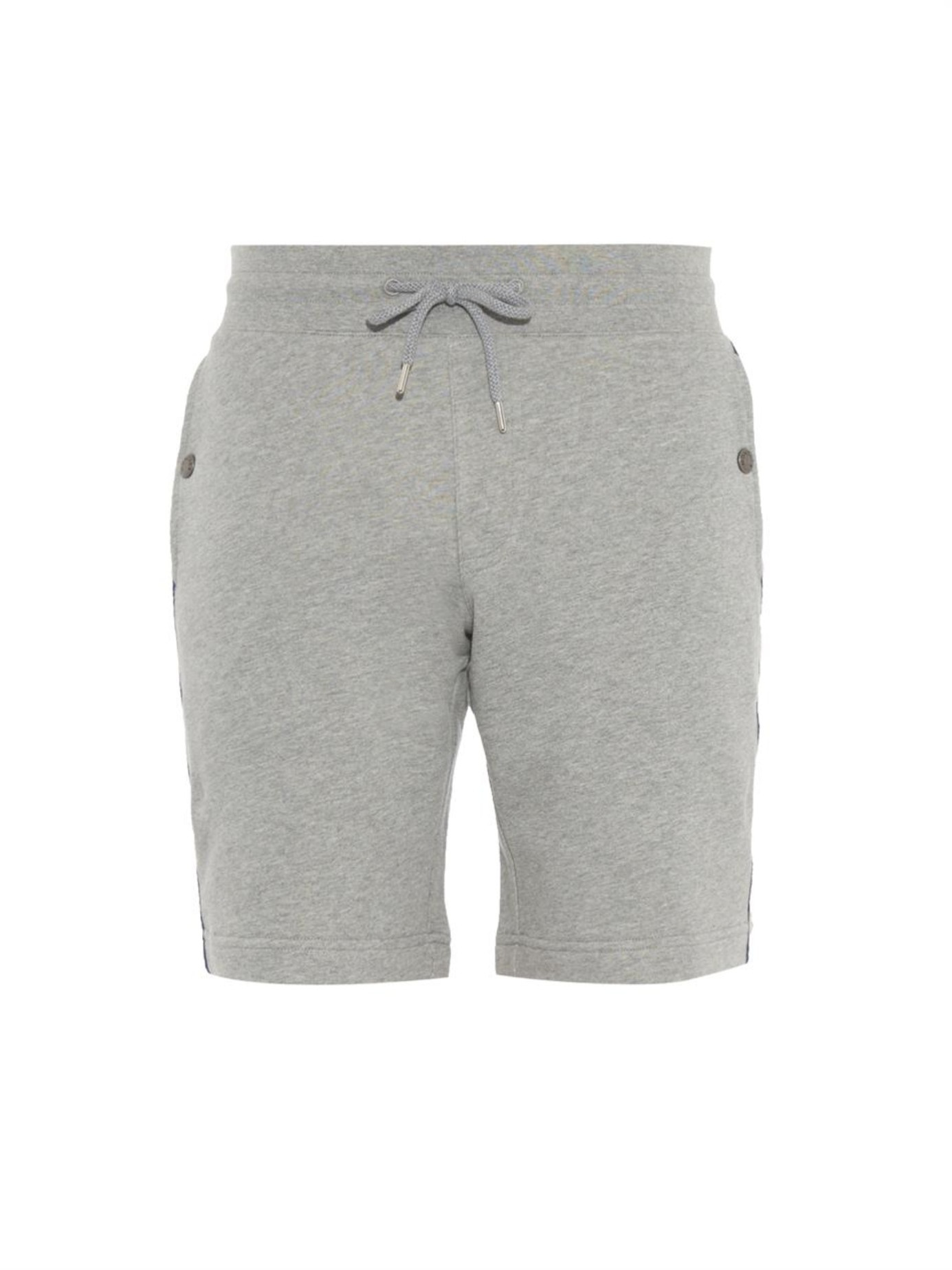 8a10406a7396 Moncler Side-Stripe Jersey Track Shorts in Gray for Men - Lyst
