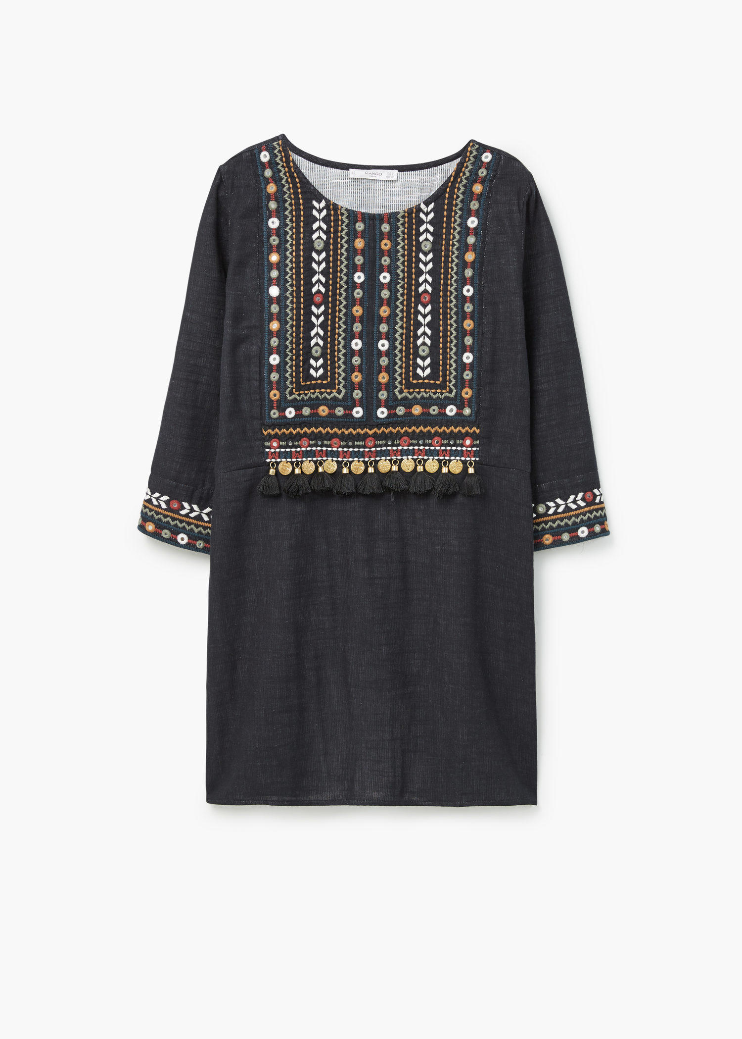 Mango bead embroidery dress in black lyst