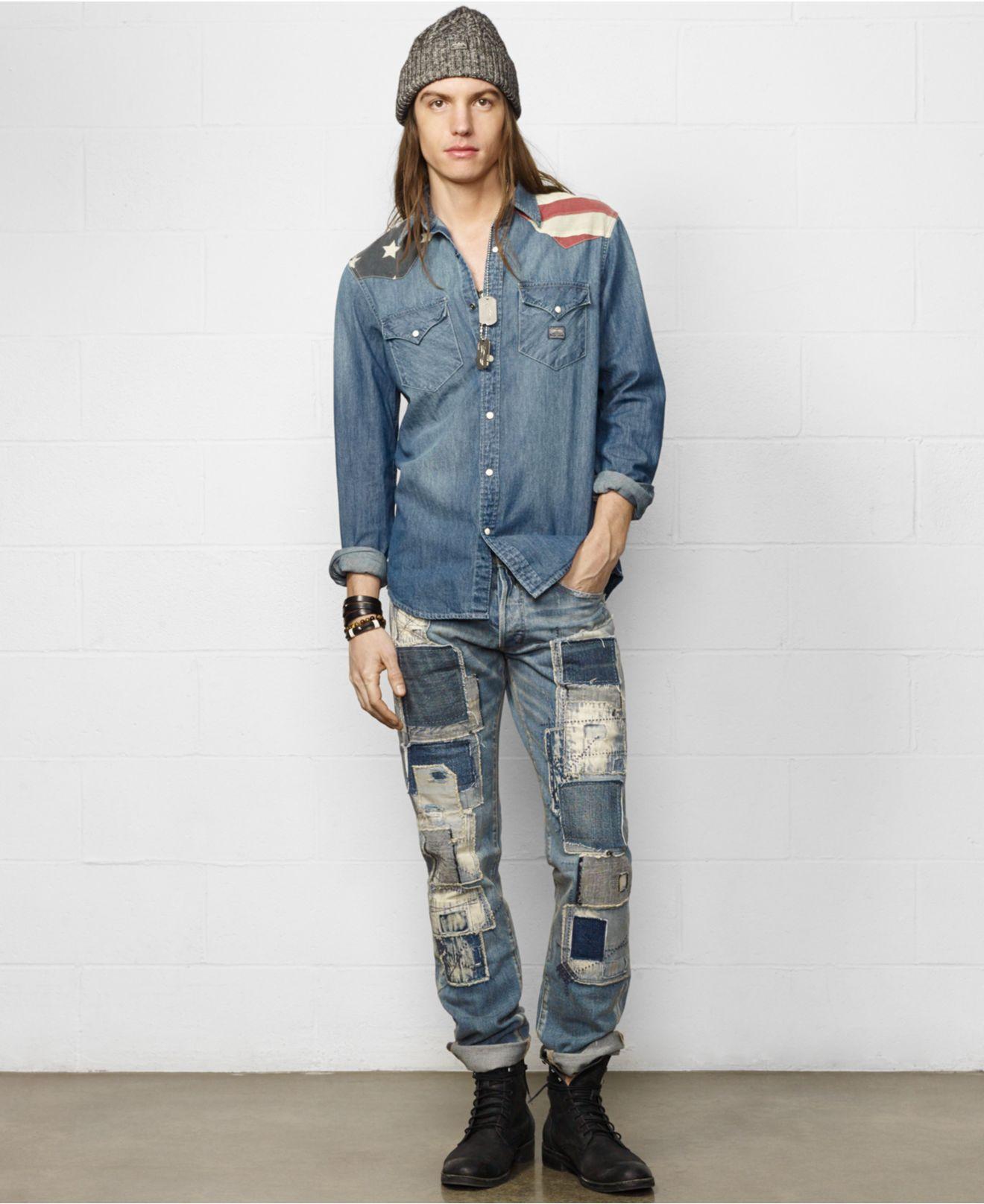 ea28b748b9 Lyst - Denim   Supply Ralph Lauren Flag-Yoke Cowboy Shirt in Blue ...