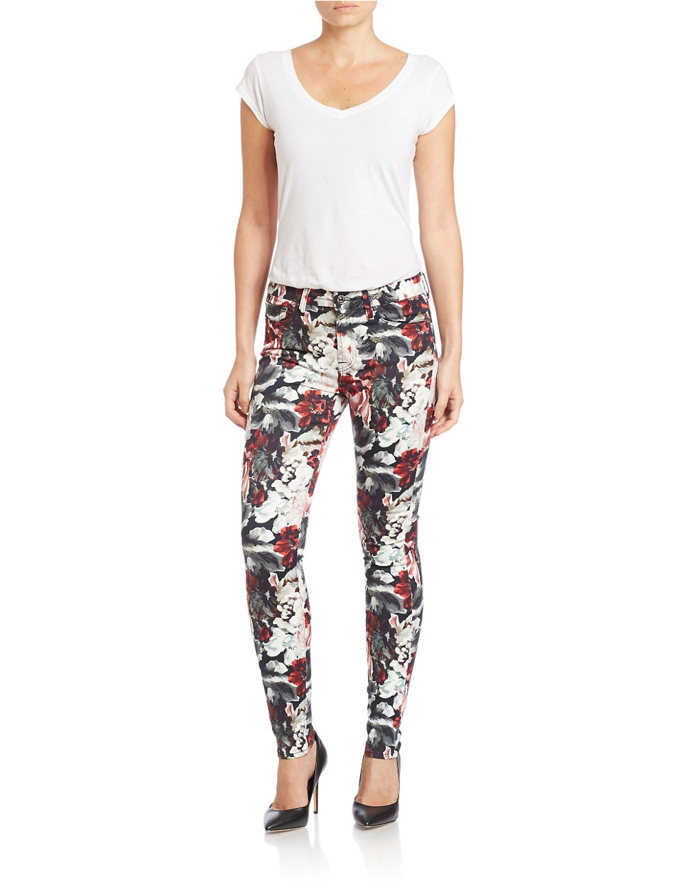 7 for all mankind Floral-print Mid-rise Skinny Jeans | Lyst