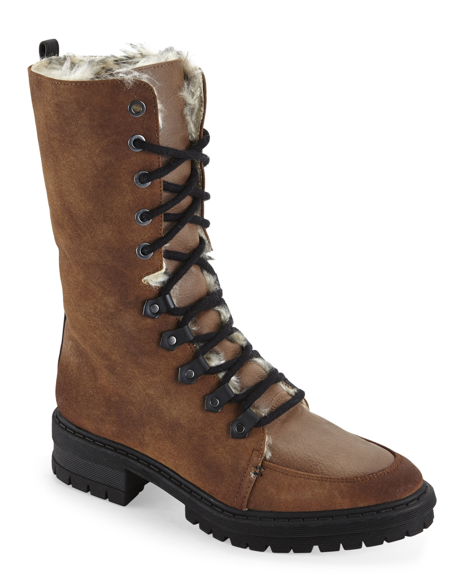 eb2549d47716 Lyst - Circus by Sam Edelman Saddle Liam Faux Fur-Lined Lace Boots ...