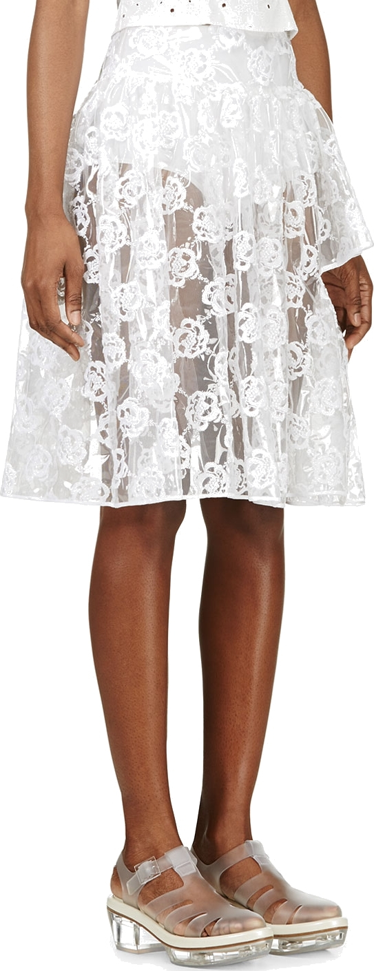 Lyst Simone Rocha Clear Embroidered Plastic Skirt In White