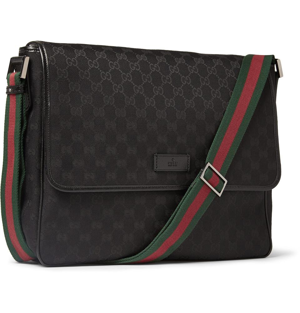 lyst gucci leather trimmed canvas messenger bag in black for men. Black Bedroom Furniture Sets. Home Design Ideas