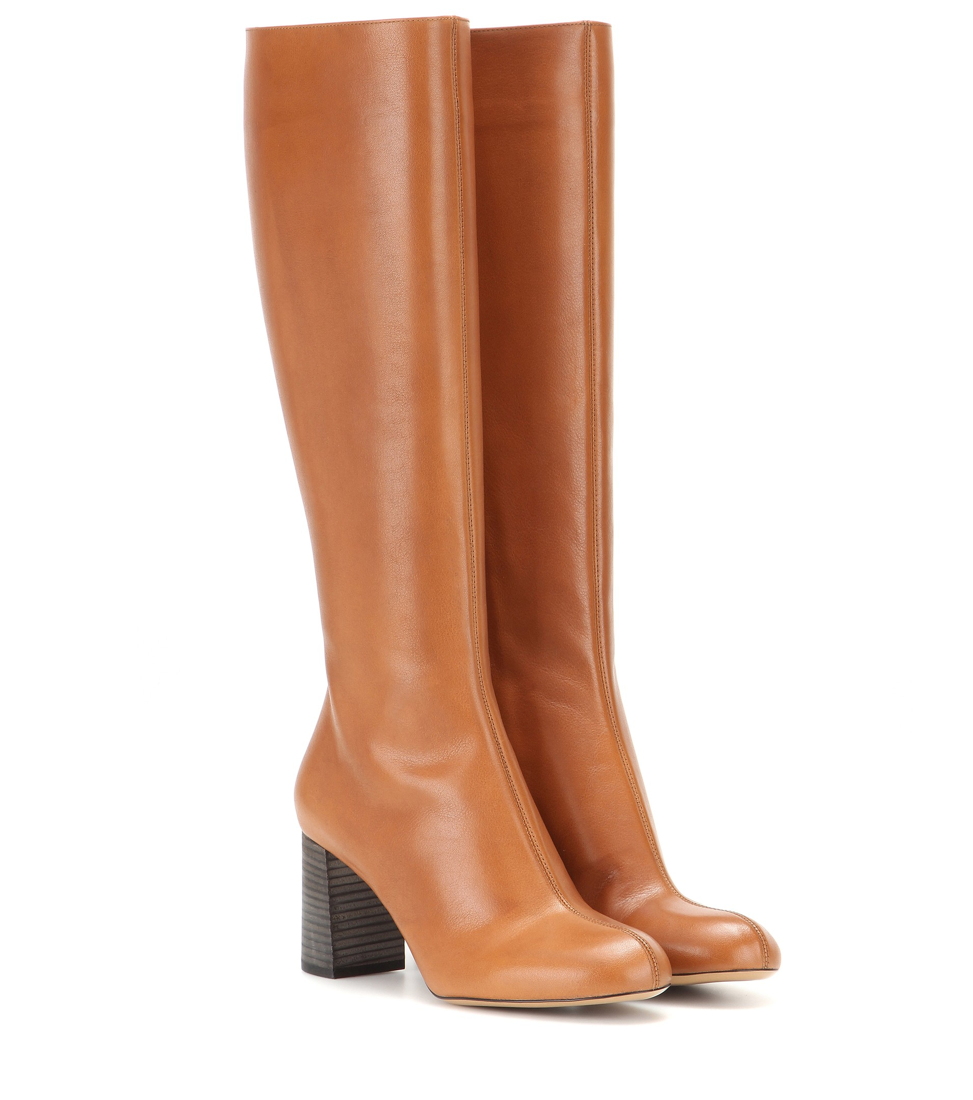 b0dd93c7de7 Chloé Leather Knee-High Boots in Brown - Lyst
