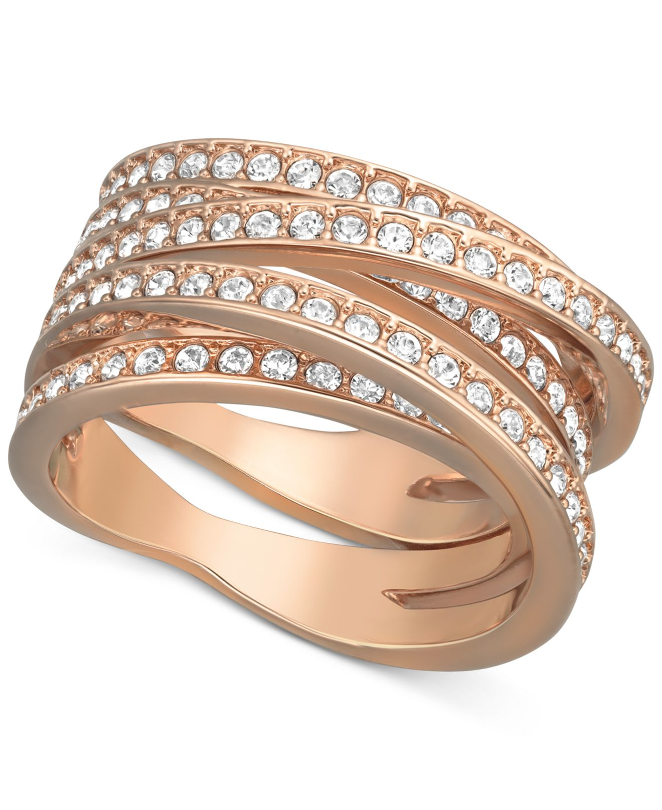 Lyst Swarovski Rose GoldTone Crystal Crossover Ring in Metallic