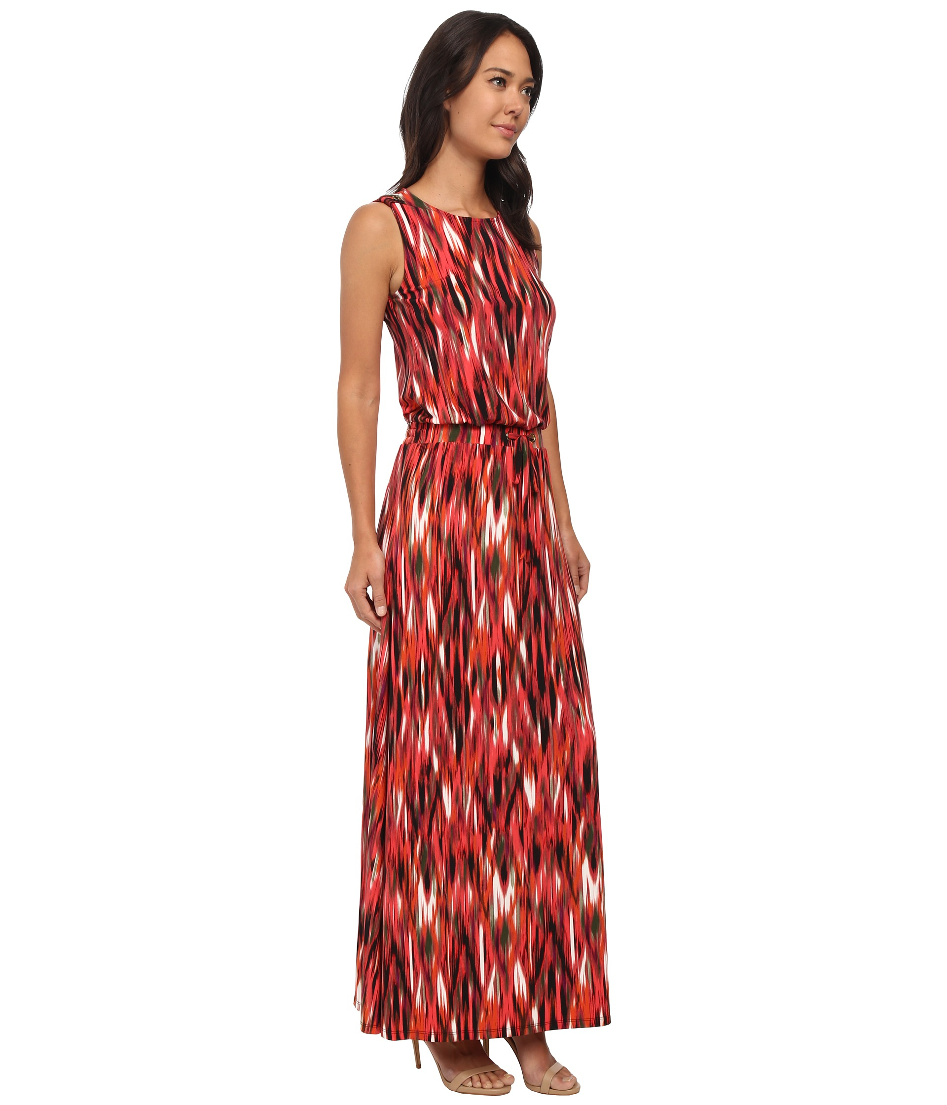 Lyst Calvin Klein Print Maxi Dress W Tie In Red