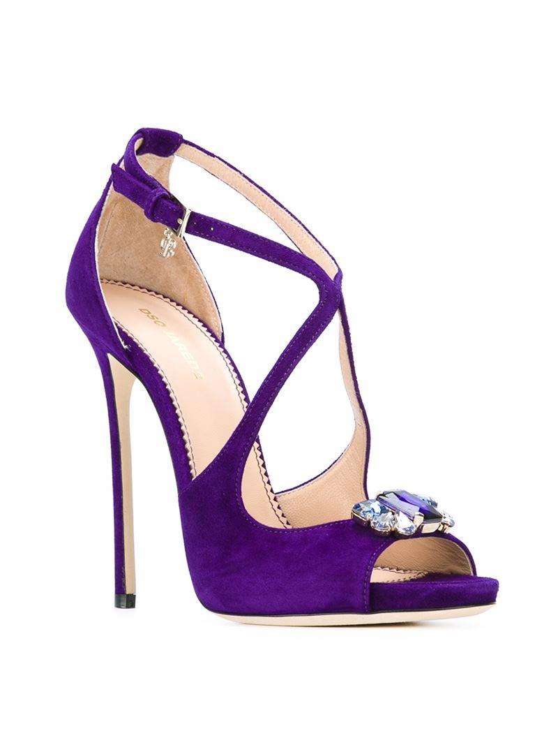 461e0c8328e3 DSquared² Rhinestone Embellished Sandals in Purple - Lyst
