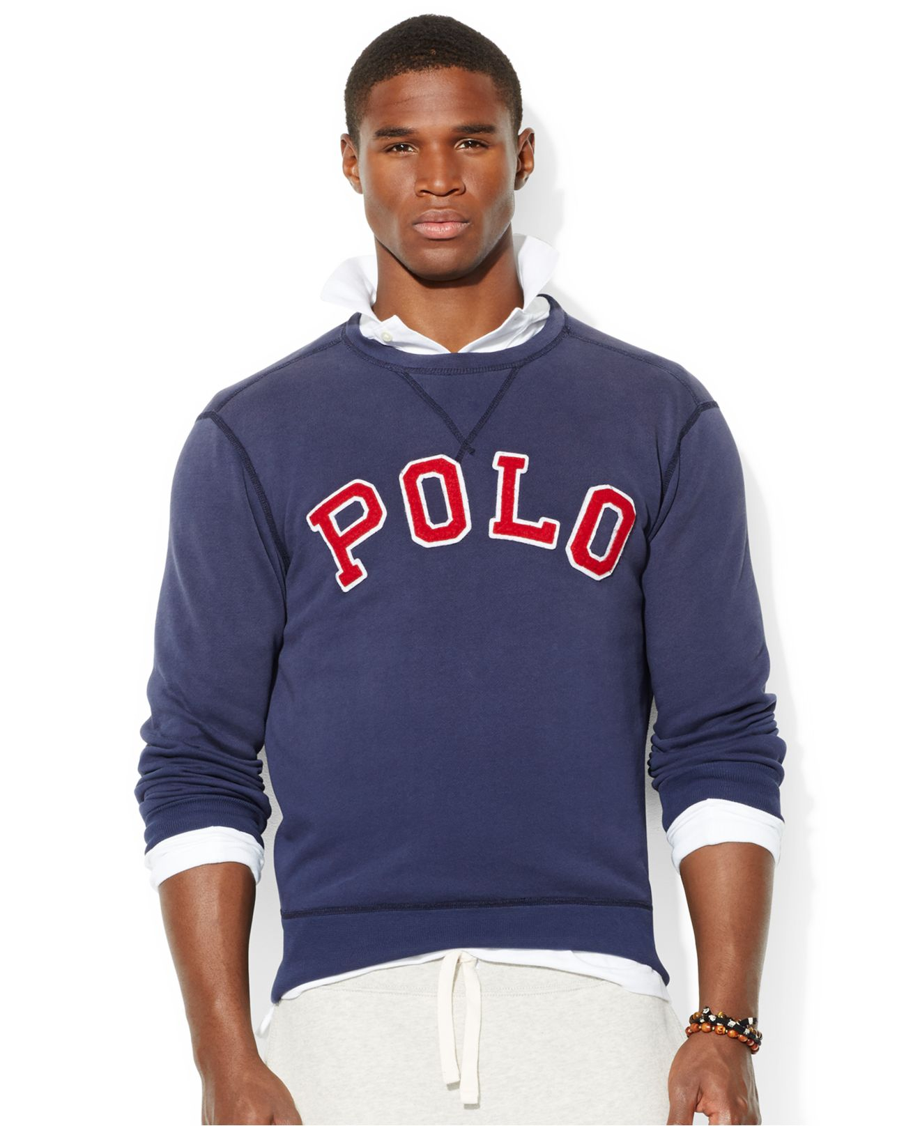Polo ralph lauren Fleece Crew-Neck Sweatshirt in Blue for Men | Lyst