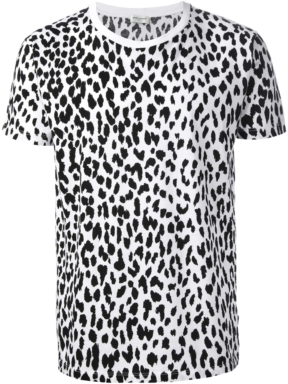 Saint laurent Leopard Print Tshirt in White for Men | Lyst