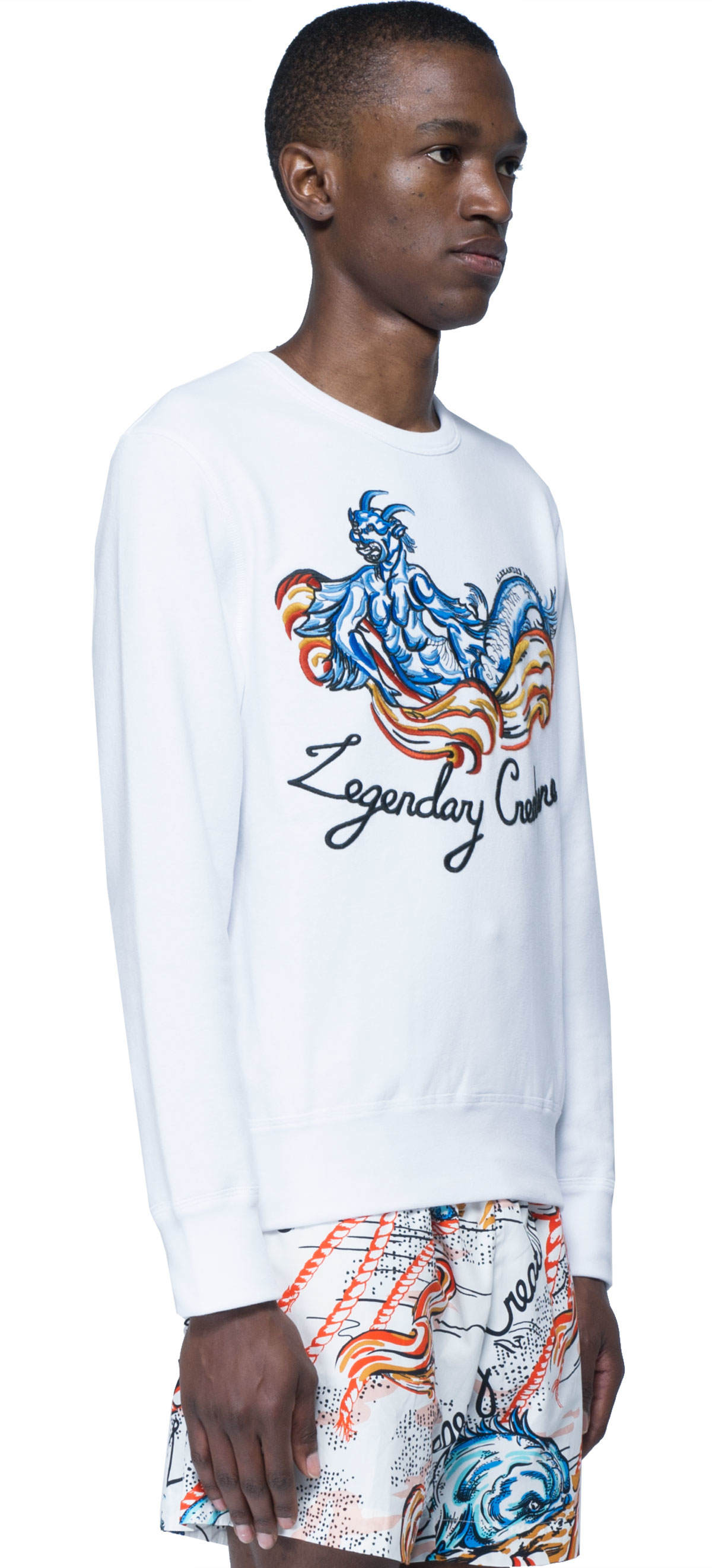 alexander mcqueen sweatshirt with embroidered in white for men lyst. Black Bedroom Furniture Sets. Home Design Ideas