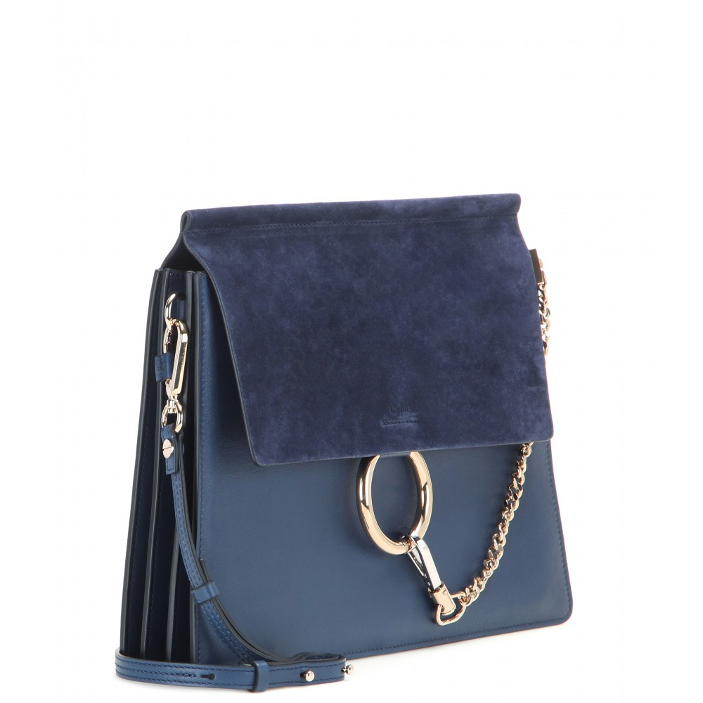 chlo faye leather and suede shoulder bag in blue lyst. Black Bedroom Furniture Sets. Home Design Ideas