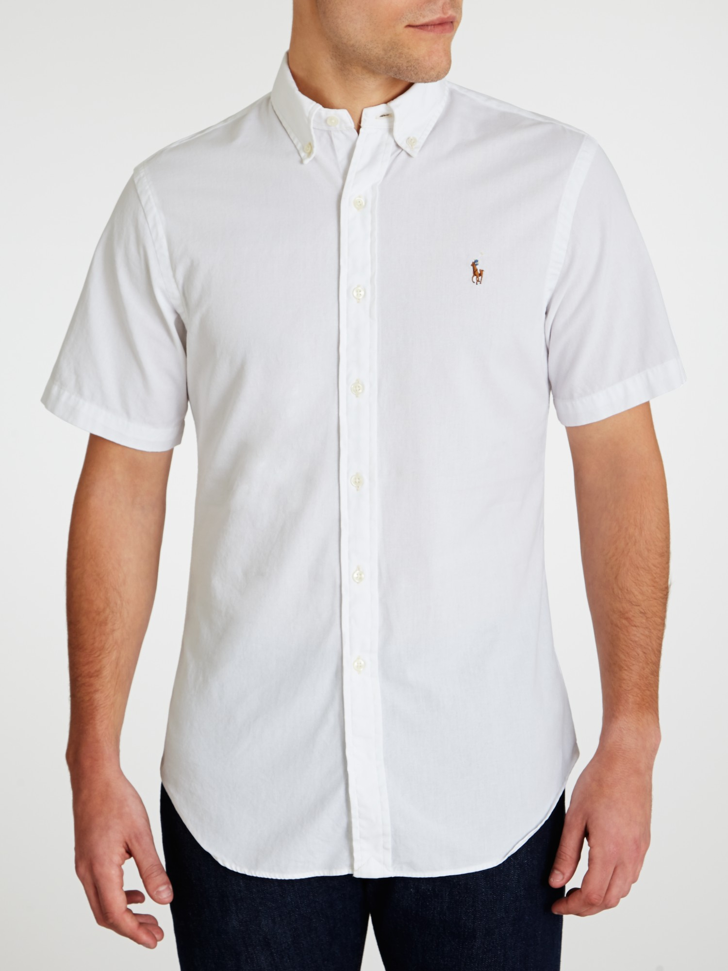 Polo Ralph Lauren Chambray Short Sleeve Shirt In White For