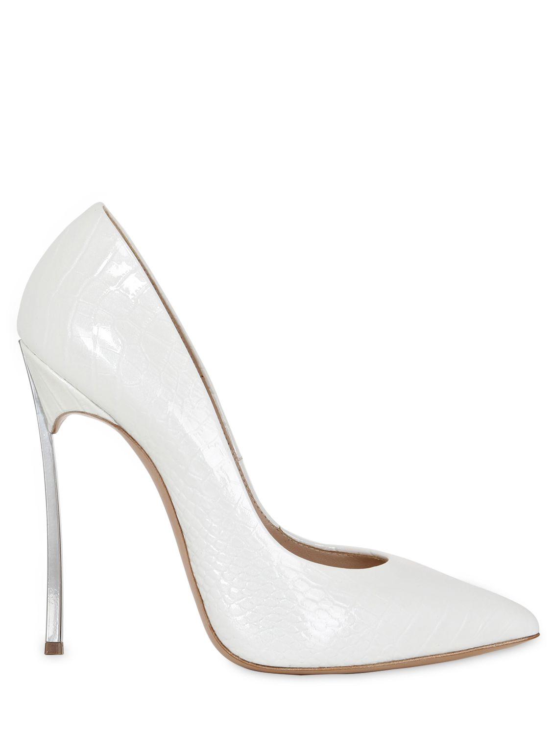 fdfc92dbfd Casadei 120mm Blade Croc Printed Leather Pumps in White - Lyst