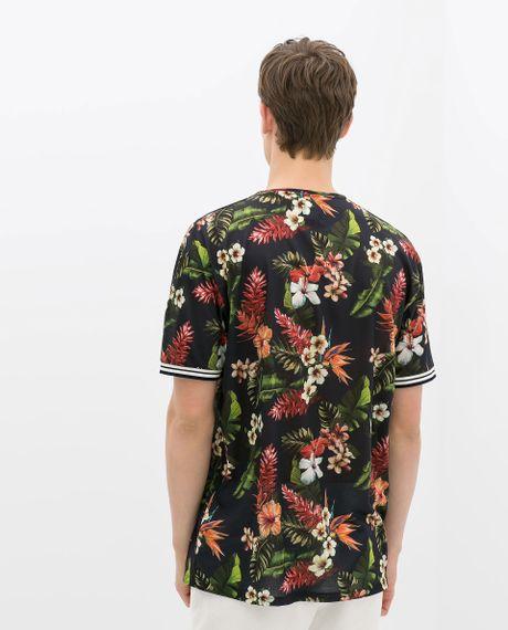 Zara floral tshirt in floral for men navy blue lyst for Zara mens floral shirt