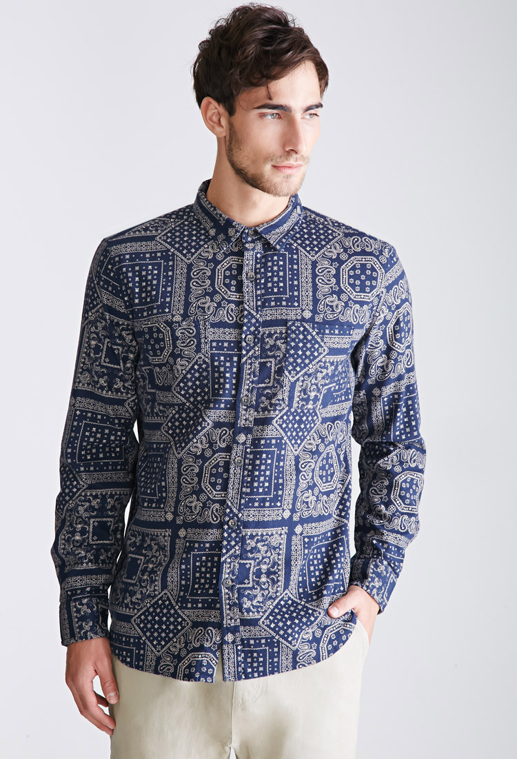 Forever 21 Bandana Print Collared Shirt in Blue for Men   Lyst