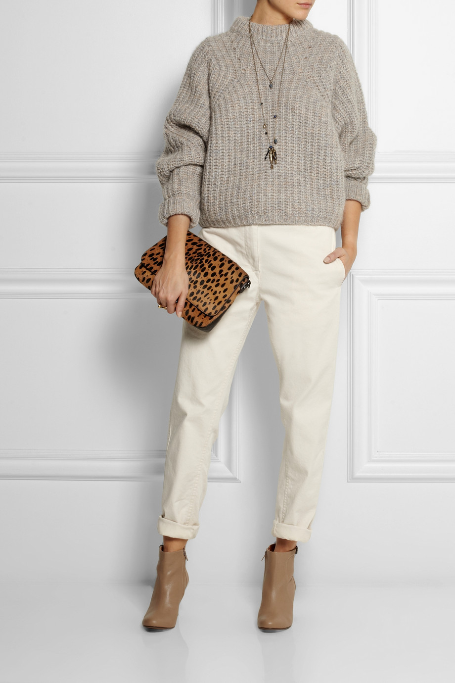 Isabel marant Newt Oversized Mélange Ribbed-Knit Sweater in Gray ...