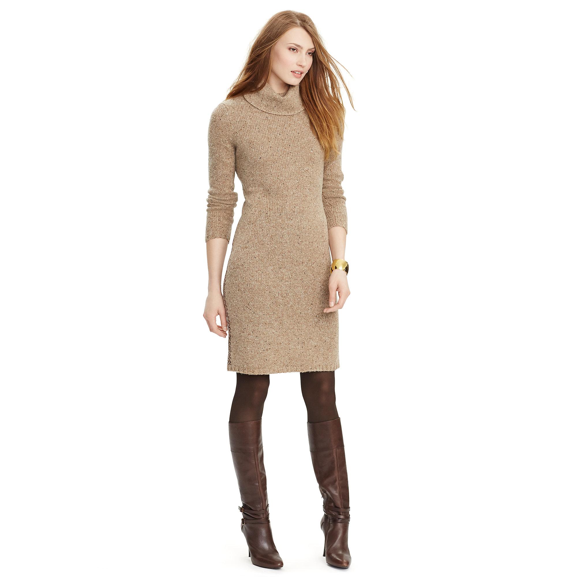 Ralph lauren Turtleneck Sweater Dress in Natural   Lyst