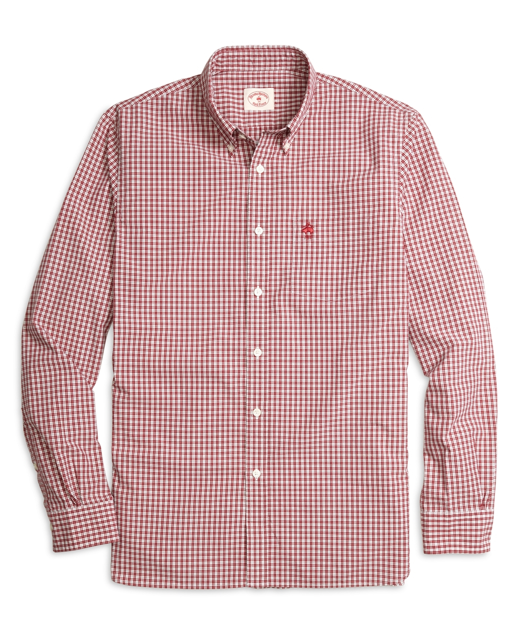 Lyst brooks brothers mini check sport shirt in red for men for Brooks brothers sports shirts