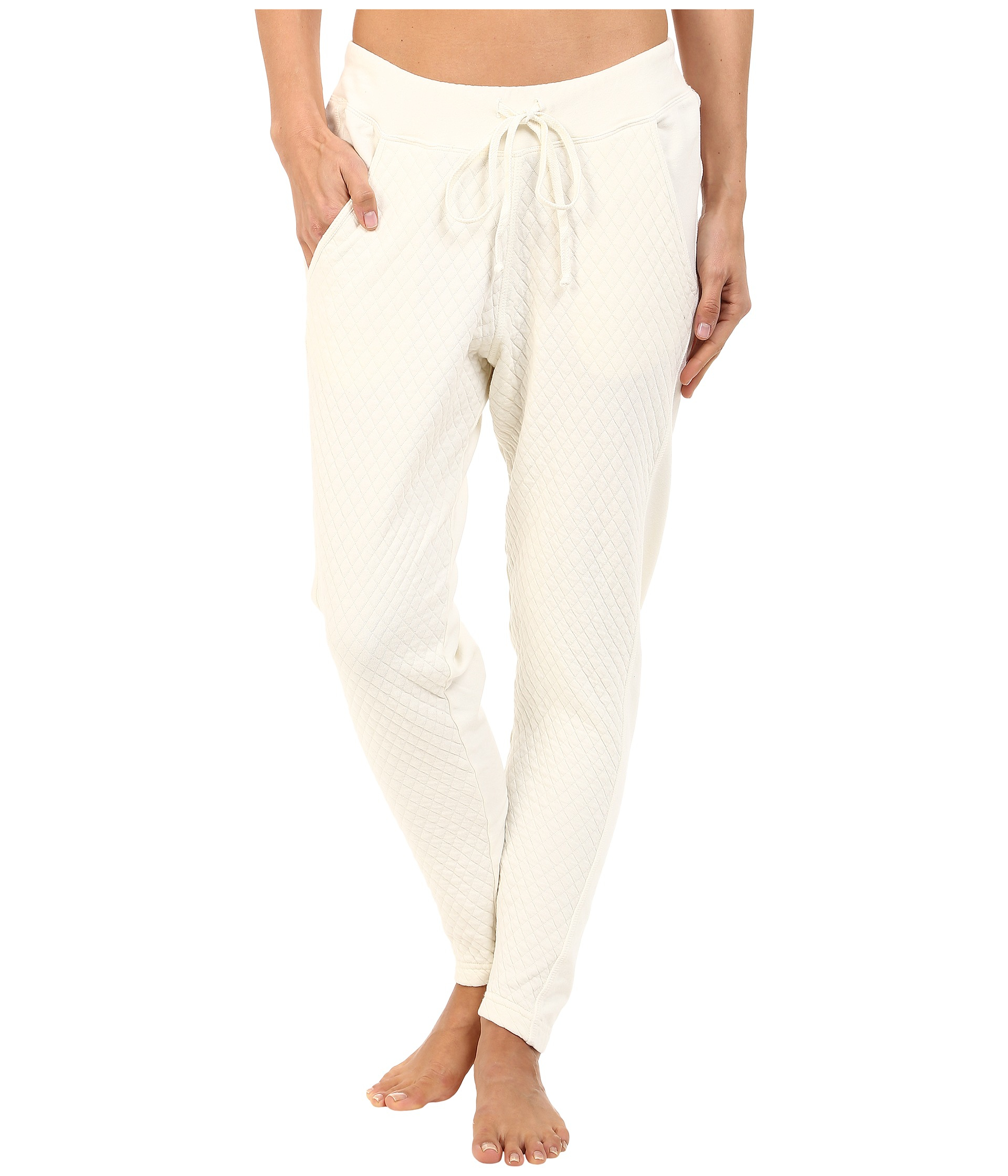 Hard Tail Quilt Front Low Ride Pants In White