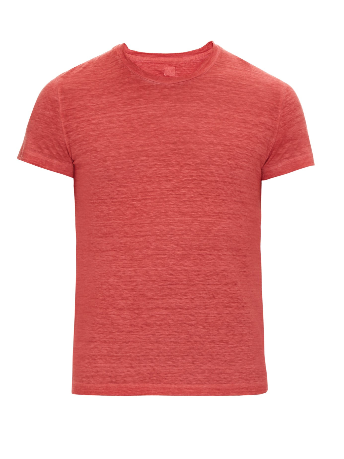 120 Lino Crew Neck Linen T Shirt In Red For Men Lyst