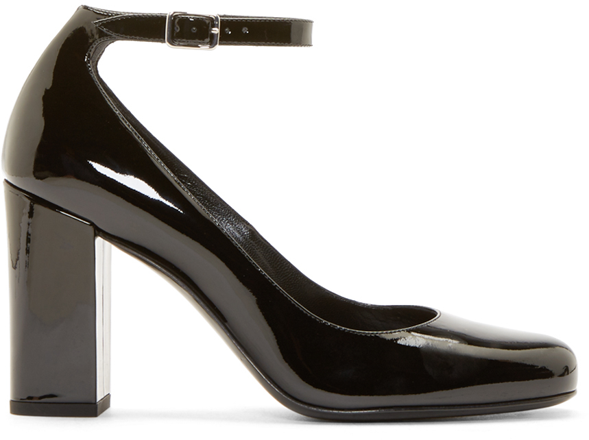 Saint Laurent Black Patent Leather Mary Jane Heels in Black - Lyst 71ca9e06937a
