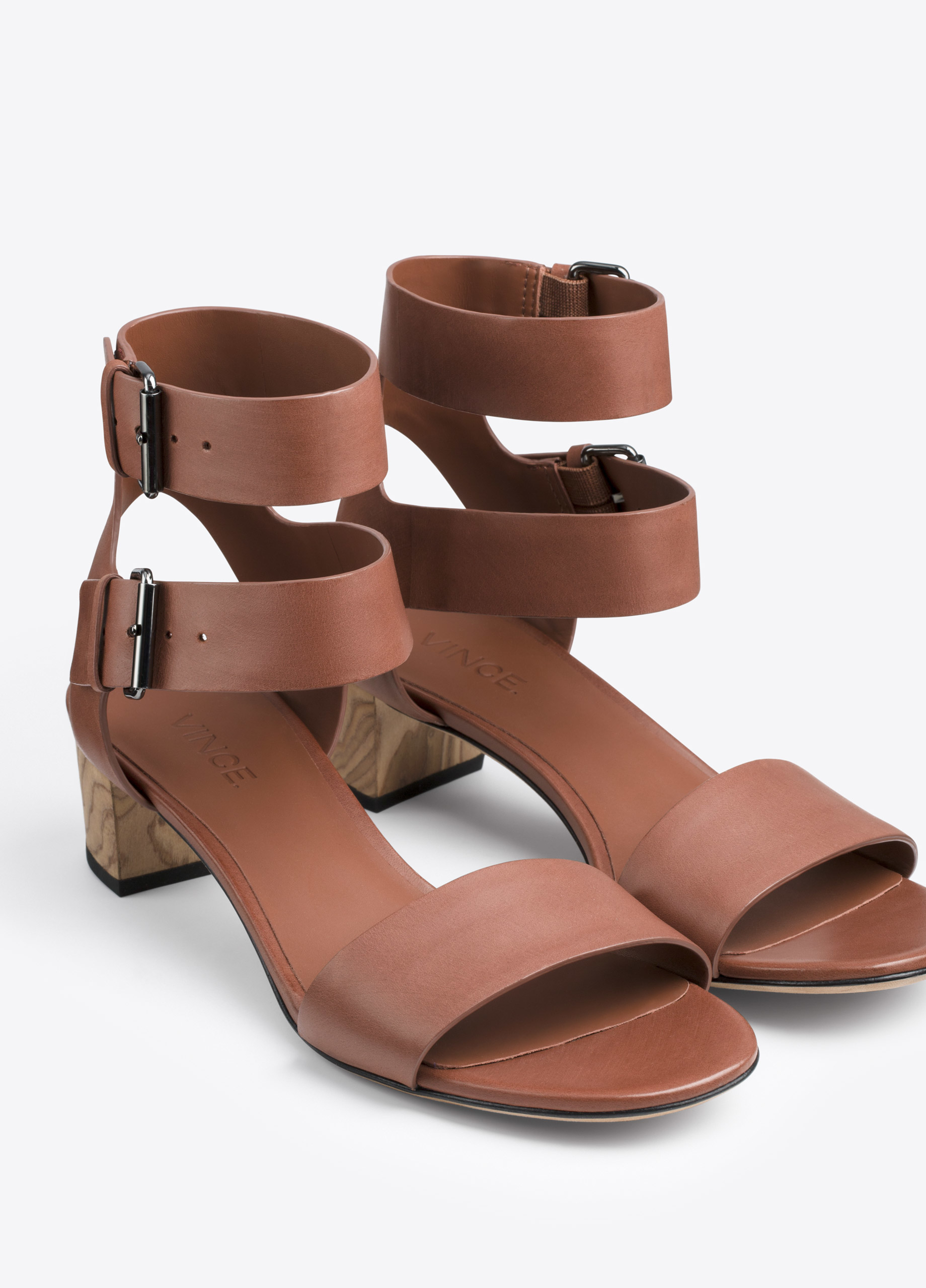 Vince Ria Leather City Sandal In Brown Lyst