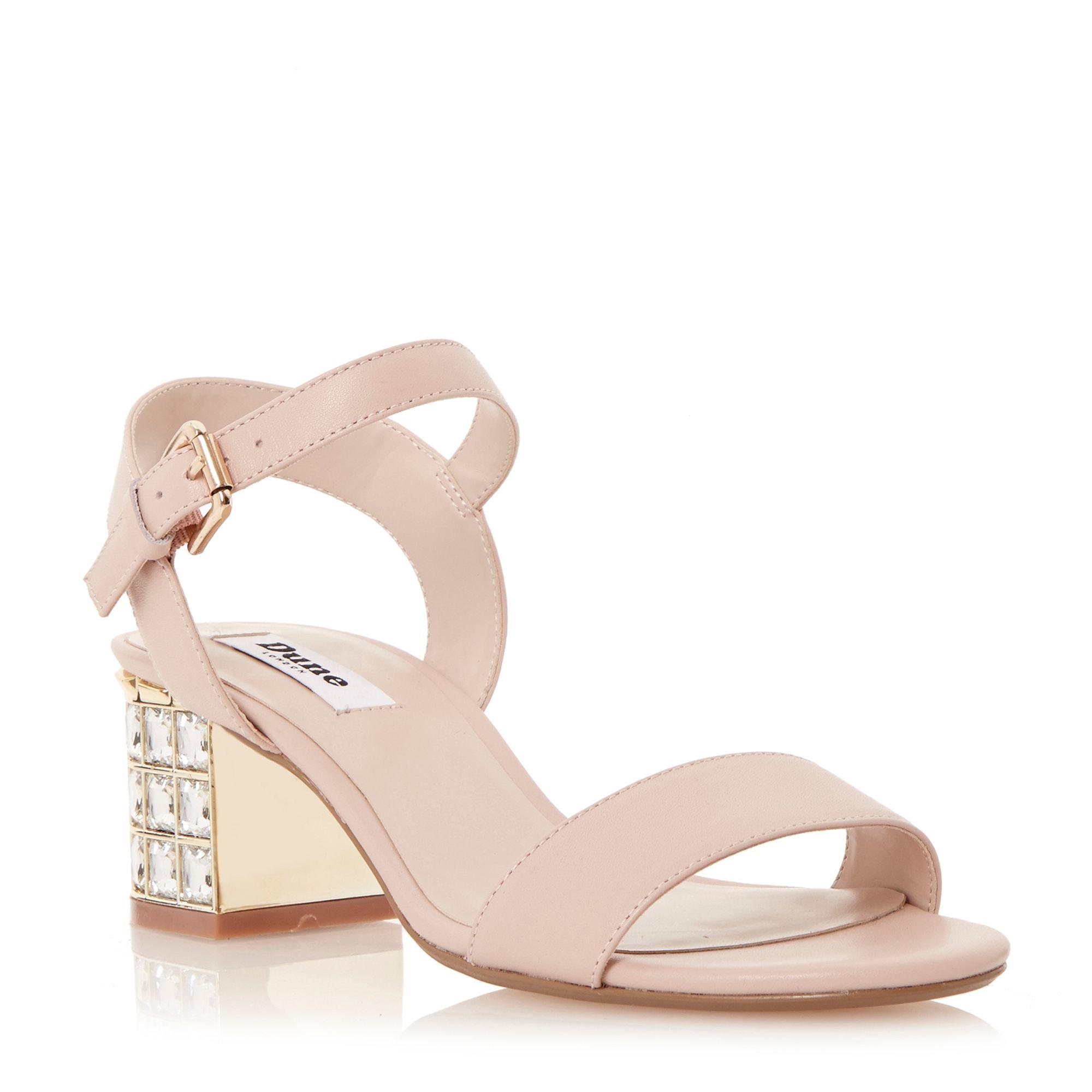 Dune Harah Suede Jewelled Block Heel Sandals in Pink   Lyst