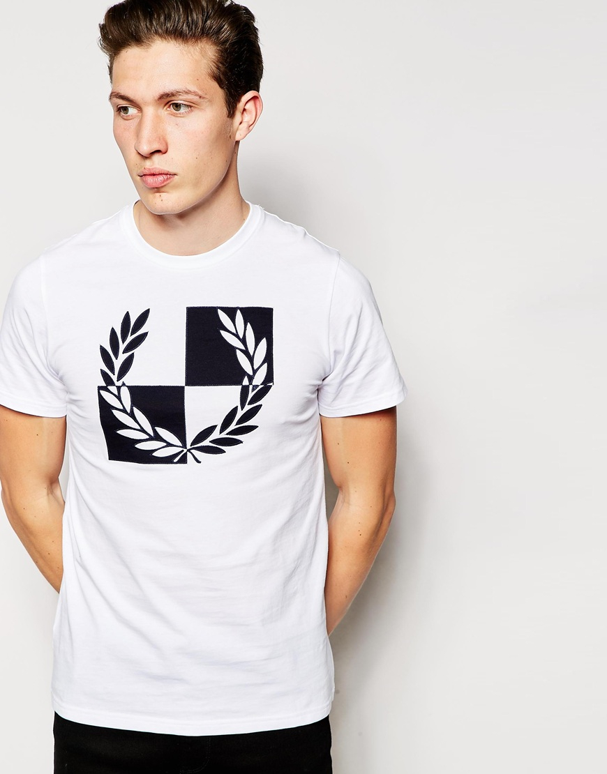 Fred perry T shirt With Checkerboard Laurel in White for Men